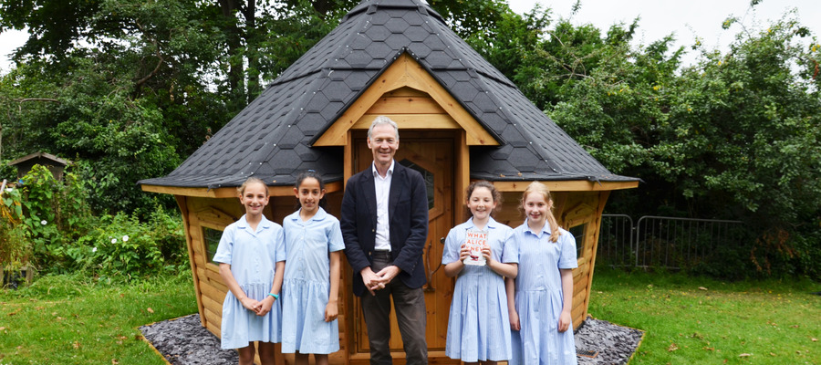 Local Author Archie Cotterell with Year 6 Librarians opening the Arctic Cabin