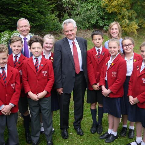 Dr Keith Brownlee (centre) with Belmont Grosvenor School pupils, Chairman of the Governors Gordon Milne and Headteacher Jane Merriman