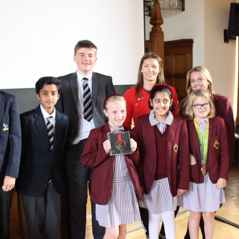 Kelly Massey with Bolton School pupils