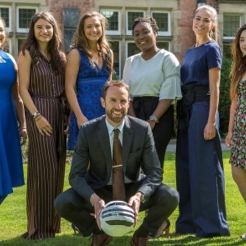 Mr Gareth Southgate and Upper Sixth Harrogate Ladies' College pupils