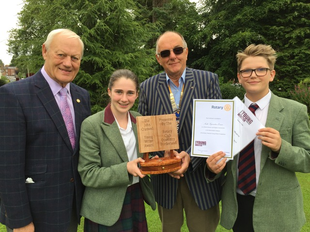 Paul Crosby, Rachel Roberts, John Croft and Noah Kynaston-Evans who received their prizes for the Young Writer of the Year award