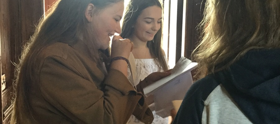 Girls looking at their results together. Anna Woodman (on the left), Katie Marlow (on the right)