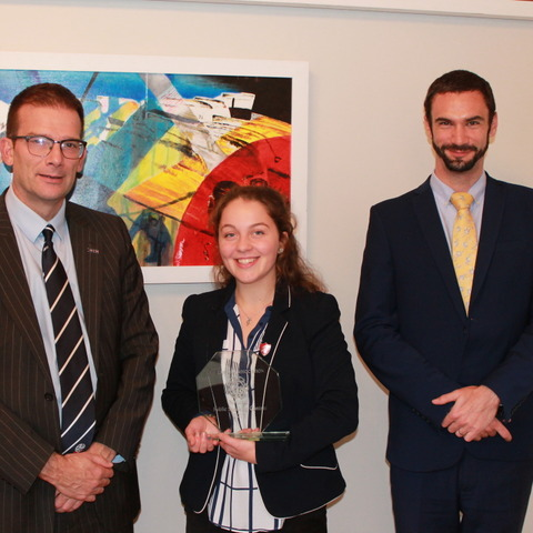 Miriam Isaacs with Headmaster Ed Hester left and Head of Sixth Form ben Collie right