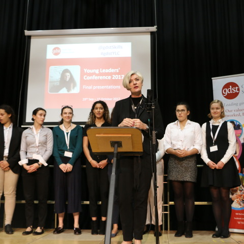 Winning formula: GDST CEO Cheryl Giovannoni congratulates the winners of the charity challenge