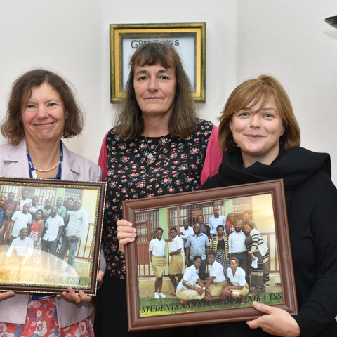 Gifts presented to Talbot Heath from the partner school