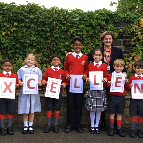 Pupils at The Froebelian School with Headteacher, Mrs Catherine Dodds