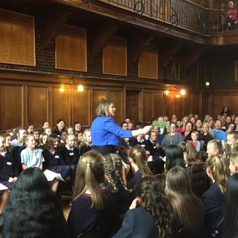 Chaplain Dr Wood blesses new girls in Godolphin's Senior school